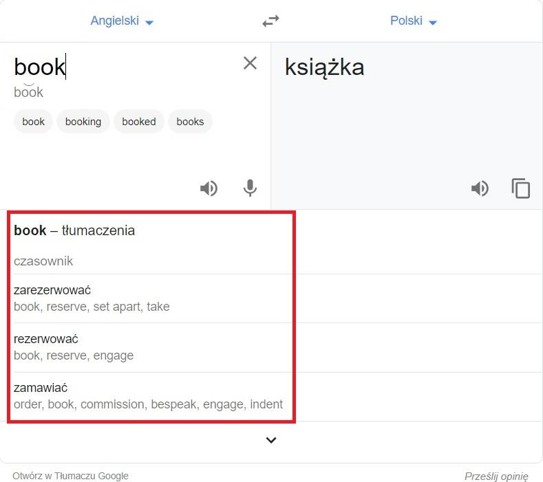 Google Translate - alternatywne tłumaczenia