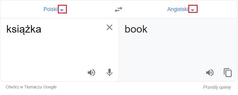 Tłumacz Google - zmiana języka