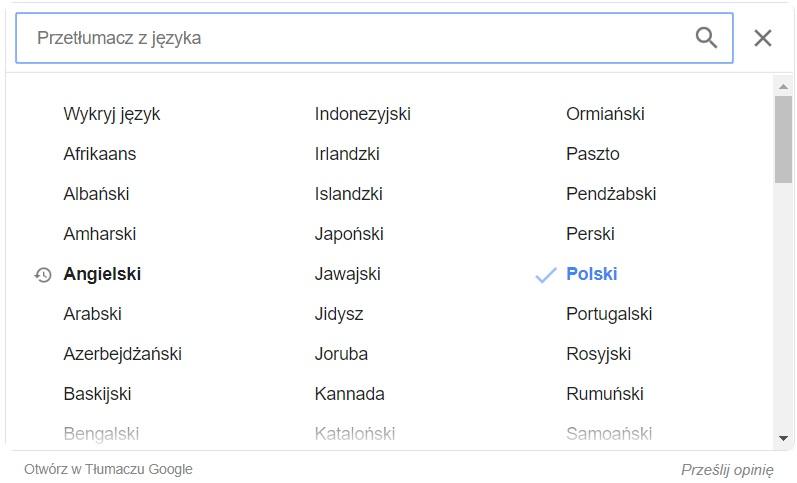 Google Translate - wybór innego języka