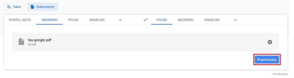 Google Translate - tłumaczenie wybranego dokumentu