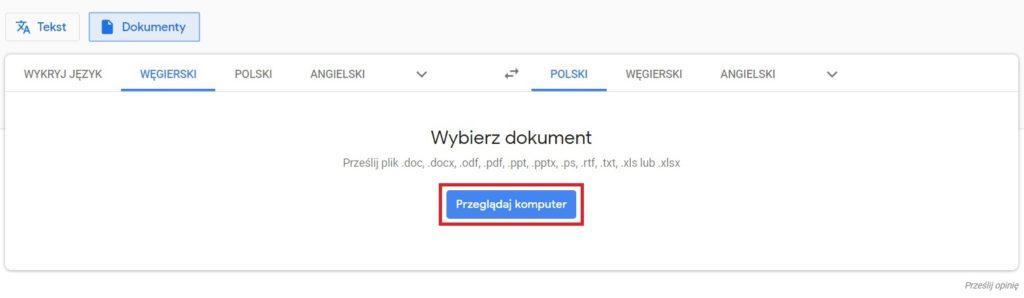 Google Translate - wybór dokumentu do tłumaczenia