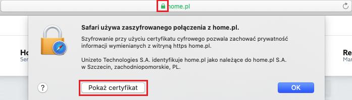 Jak sprawdzić szczegóły certyfikatu SSL w przeglądarce Safari?