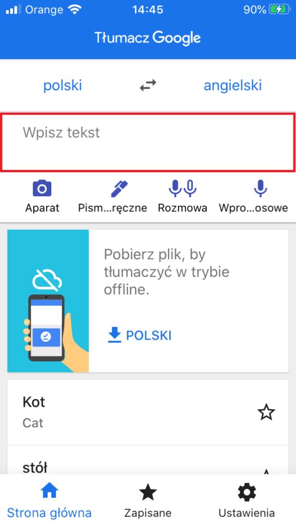 Tłumaczenie w aplikacji Google Tłumacz (Android lub iOS)
