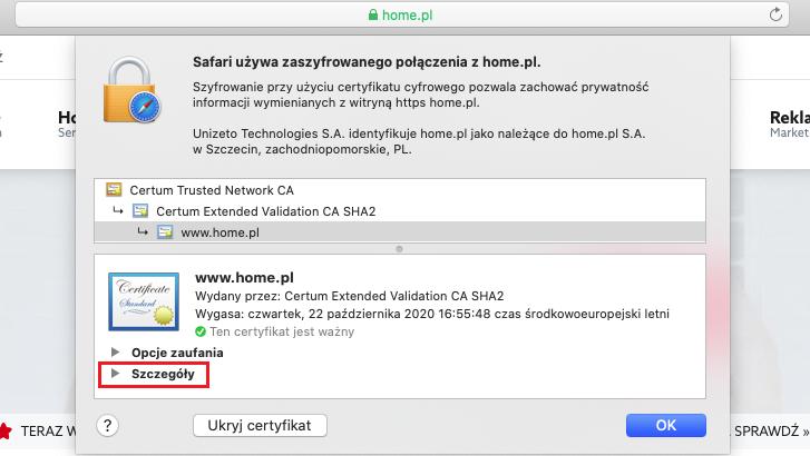Przeglądarka Safari - jak sprawdzić szczegóły certyfikatu SSL?