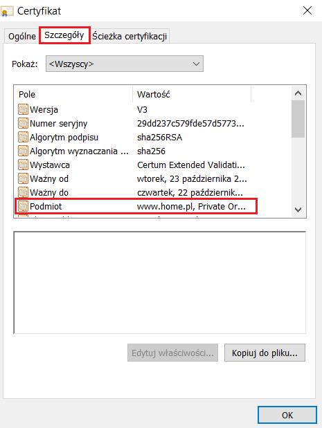 Sprawdzanie danych podmiotu dla certyfikatu SSL w przeglądarce Opera