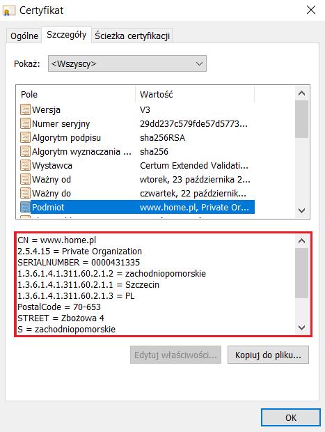Sprawdzanie danych podmiotu w przeglądarce Opera, dla którego został wystawiony certyfikat SSL