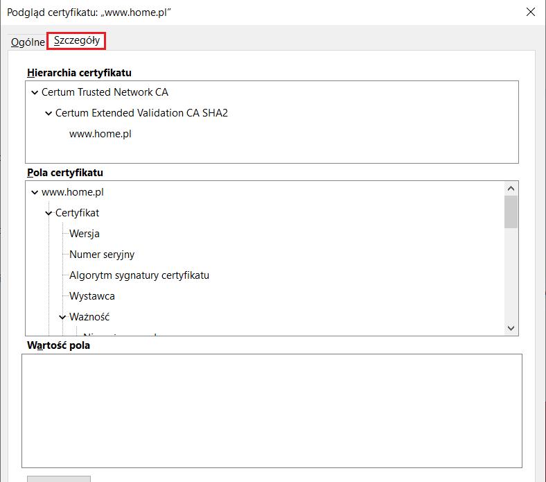 Sprawdzanie danych podmiotu certyfikatu SSL w przeglądarce Firefox