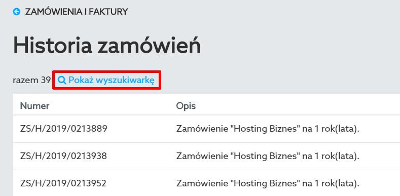 Kliknij opcję: Pokaż wyszukiwarkę, aby wyświetlić wyszukiwarkę w Panelu klienta home.pl.