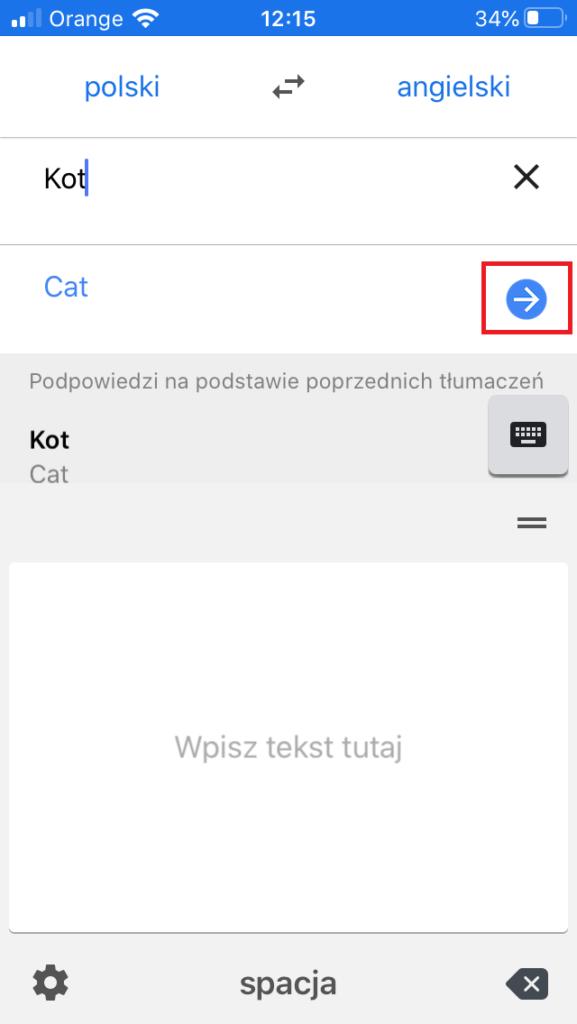 Pismo ręczne - tłumaczenie w aplikacji Google Tłumacz na smartfonach