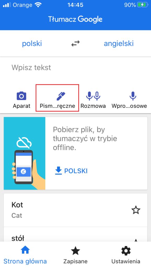 Tłumaczenia Google Tłumacz w aplikacji na smartfony - pismo ręczne