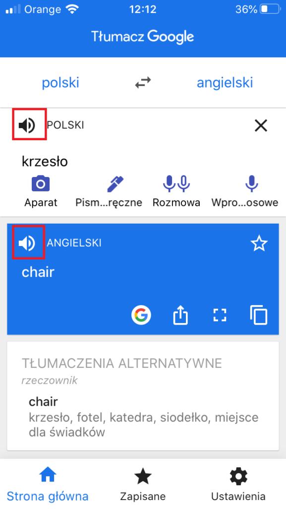 Tłumaczenie w Tłumaczu Google na urządzeniu mobilnym - odsłuchiwanie tłumaczeń