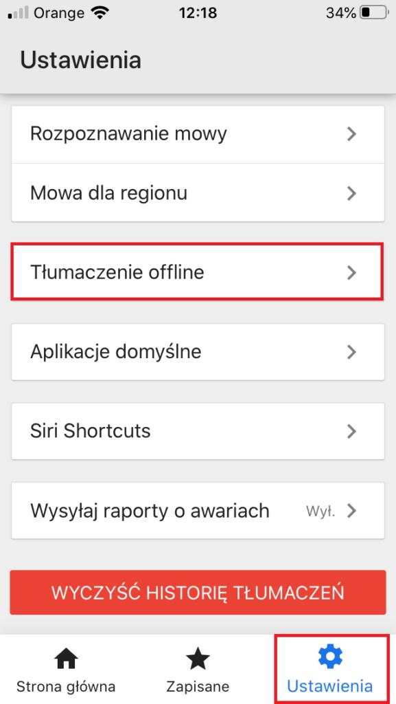 Tłumaczenia offline Google Tłumacz w aplikacji na smartfony Android lub iOS