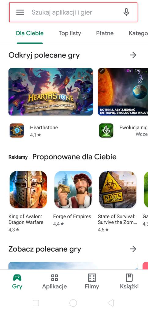 Ściąganie aplikacji w Google Play