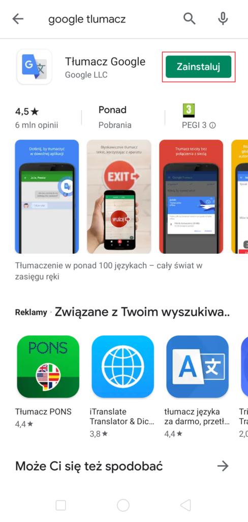 Ściąganie aplikacji w Google Play - zainstaluj