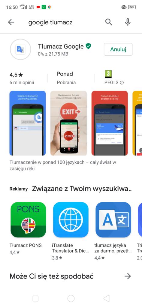 Ściąganie aplikacji w Google Play - instalowanie