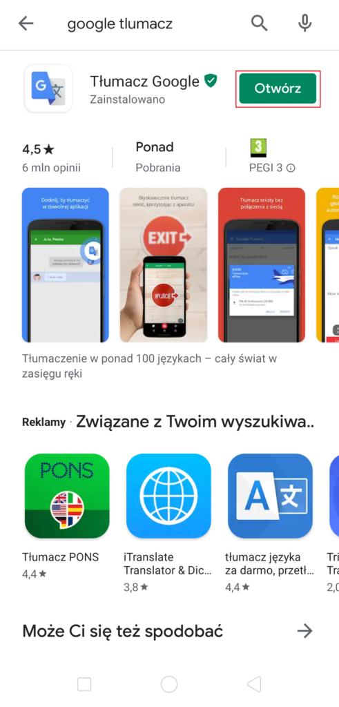 Ściąganie aplikacji w Google Play - otwórz