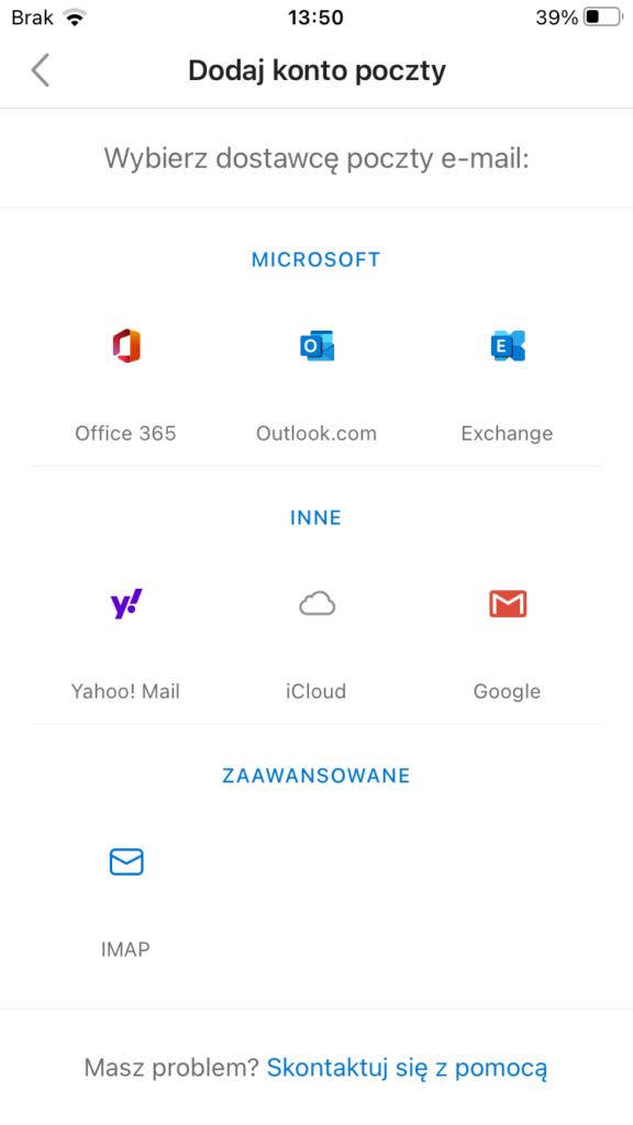 Konto IMAP w aplikacji Outlook