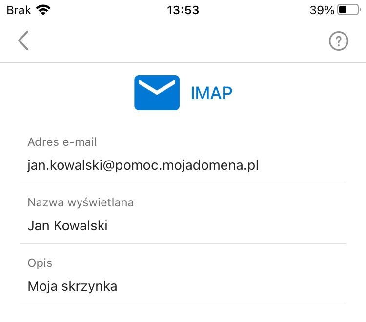 Podstawowe dane w aplikacji Outlook