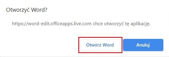 Otwórz Word Online - anuluj