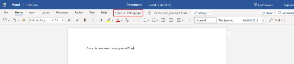 Otwieranie dokumentu Word w aplikacji Word Online - Open in Desktop App