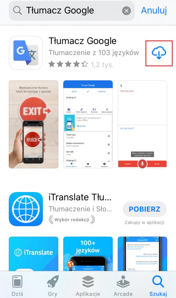 Ściąganie aplikacji z App Store - wpisywanie nazwy