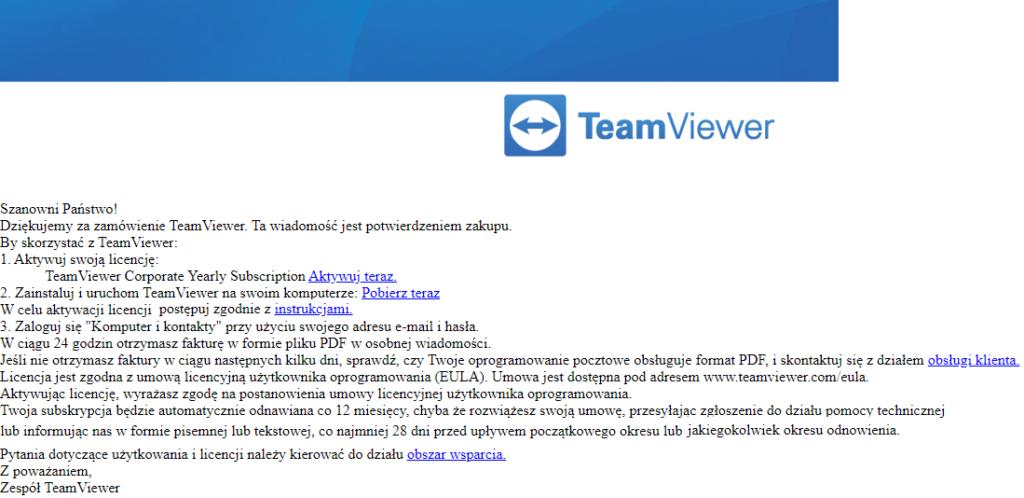 Program TeamViewer - aktywacja usługi zdalnej