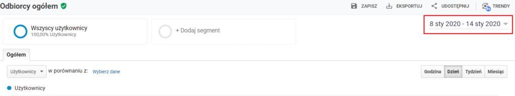 Google Analytics - jak wybrać okres czasu, dla którego chce sprawdzić statystyki