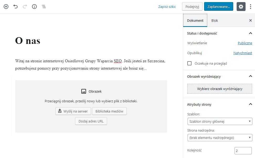 Edytuj nową stronę WordPress dodając teksty obrazy i multimedia