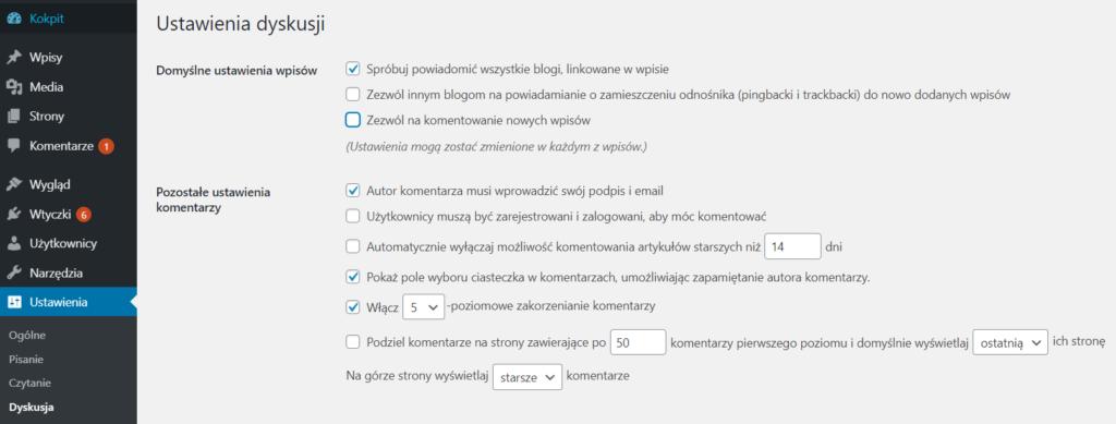 Wyłączanie komentarzy do postów i stron w WordPress