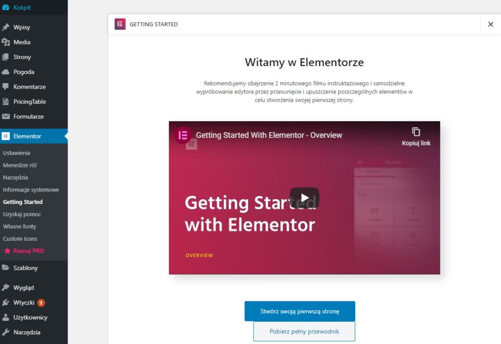 Pierwsze uruchomienie i obsługa Elementor w WordPress
