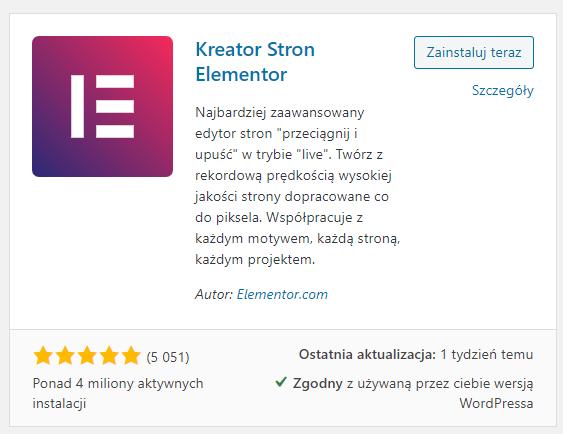 Instalacja wtyczki Elementor w CMS WordPress