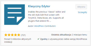 Klasyczny edytor - jak wyłączyć edytor Gutenberga w WordPress?