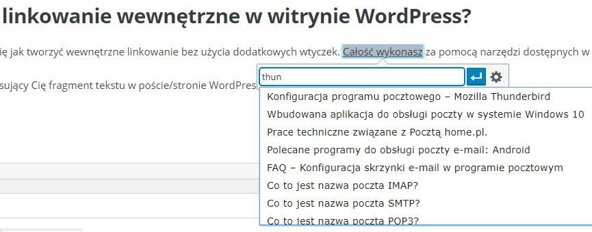Linkowanie wewnętrzne w CMS WordPress