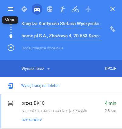 Google Maps znajdź punk