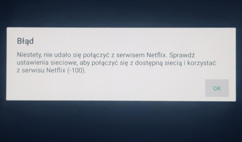 Netflix błąd -100