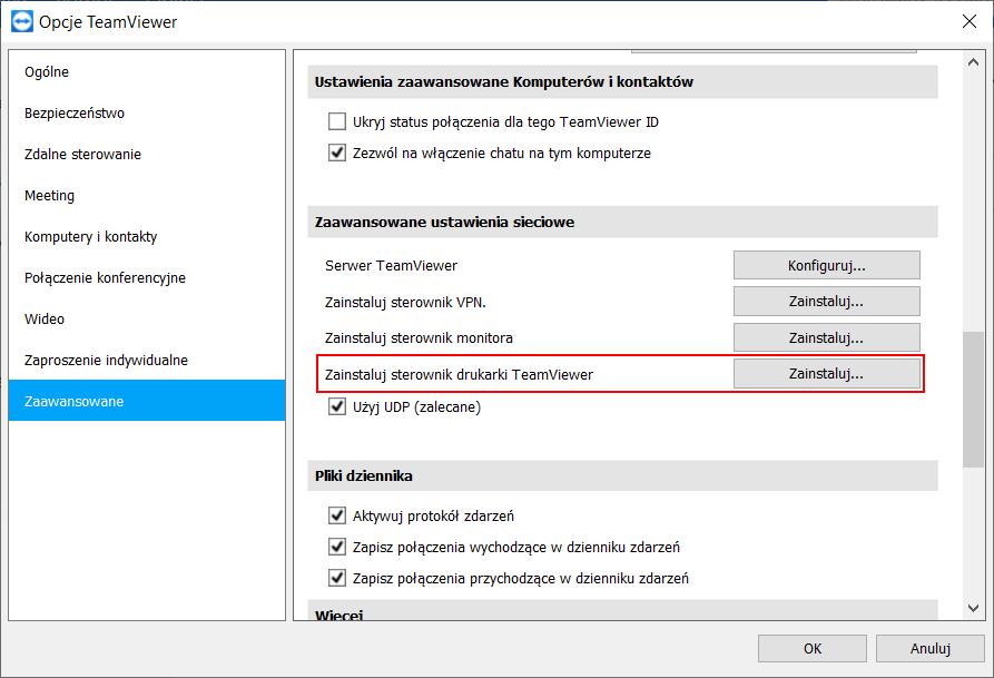 TeamViewer - uruchomienie zdalnego drukowania