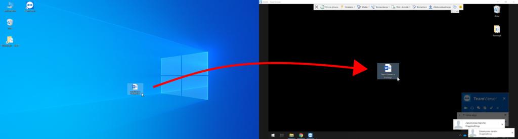 TeamViewer - sterowanie zdalne - wysyłanie plików - przeciągnij plik na drugi ekran