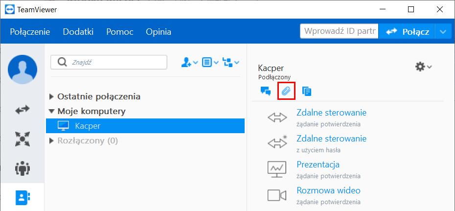 Program TeamViewer - wysyłanie plików bez uruchomienia zdalnego połączenia.