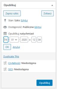 Publikowanie postów w przyszłości - kalendarz edytora klasycznego