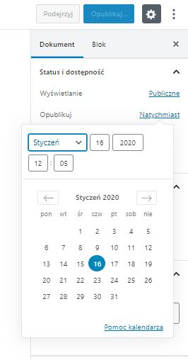 Publikowanie postów w przyszłości - kalendarz edytora Gutenberg