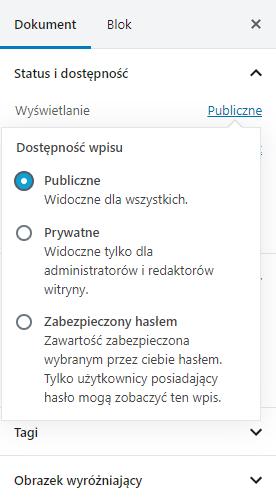 Dodaj prywatny wpis do WordPress