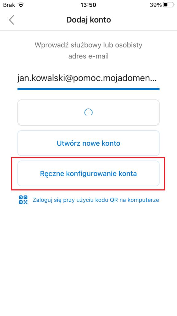 Ręczna konfiguracja Outlook Android/iOS