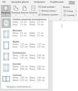 Ustawienia marginesów w Microsoft Word dla Office 365