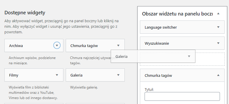 Dodawanie widgetów do strony internetowej WordPress
