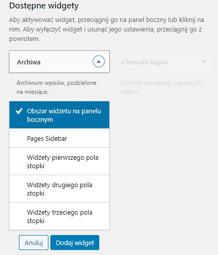 Dodawanie widgetu z panelu admi