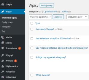 Dodawanie wpisów WordPress