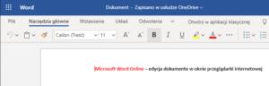 Edycja dokumentu w Word Online - przenoszenie do Word 2019