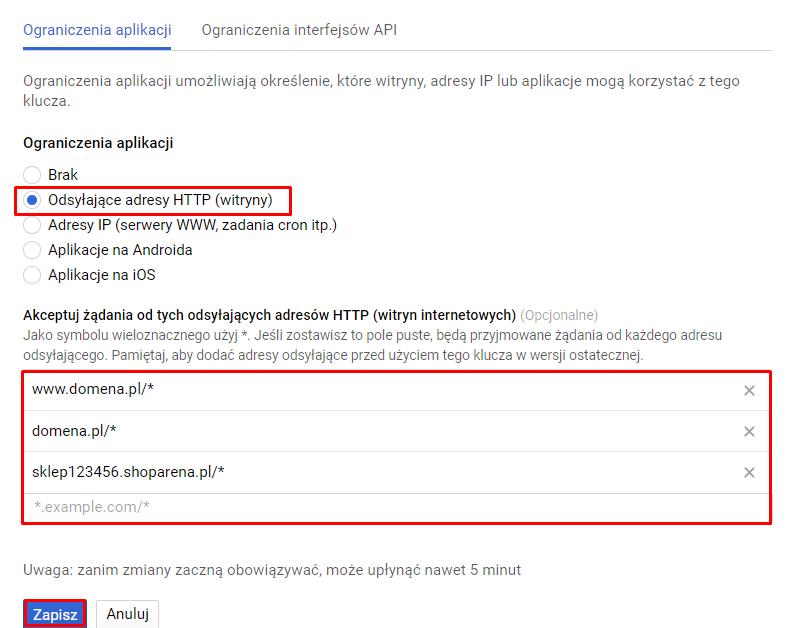Edycja klucza Google Maps API