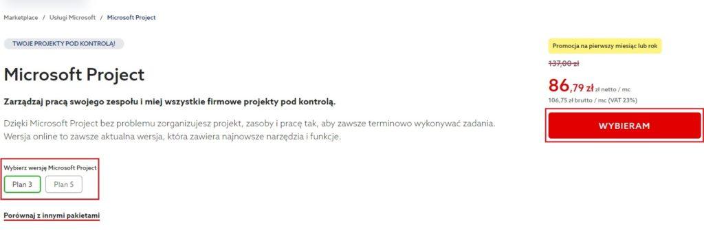 Jak zamówić i zarejestrować Microsoft Project w home.pl?