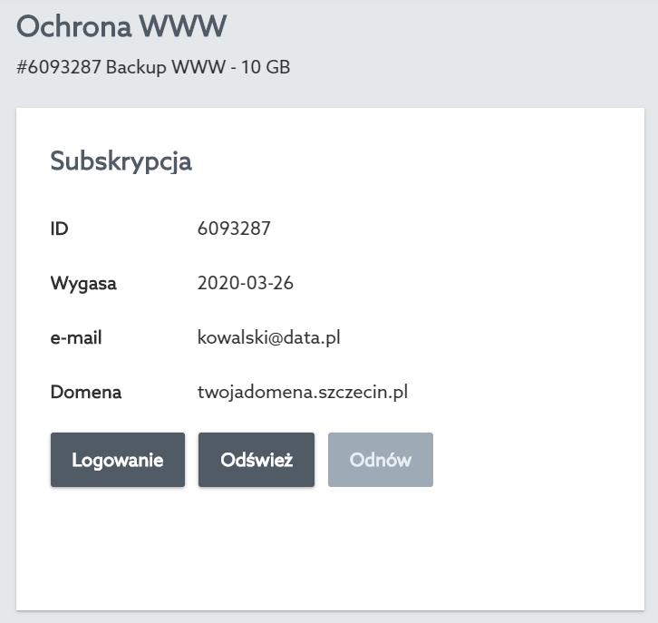 Kliknij przycisk: Logowanie, aby uruchomić w nowej zakładce Panel Backupu WWW.